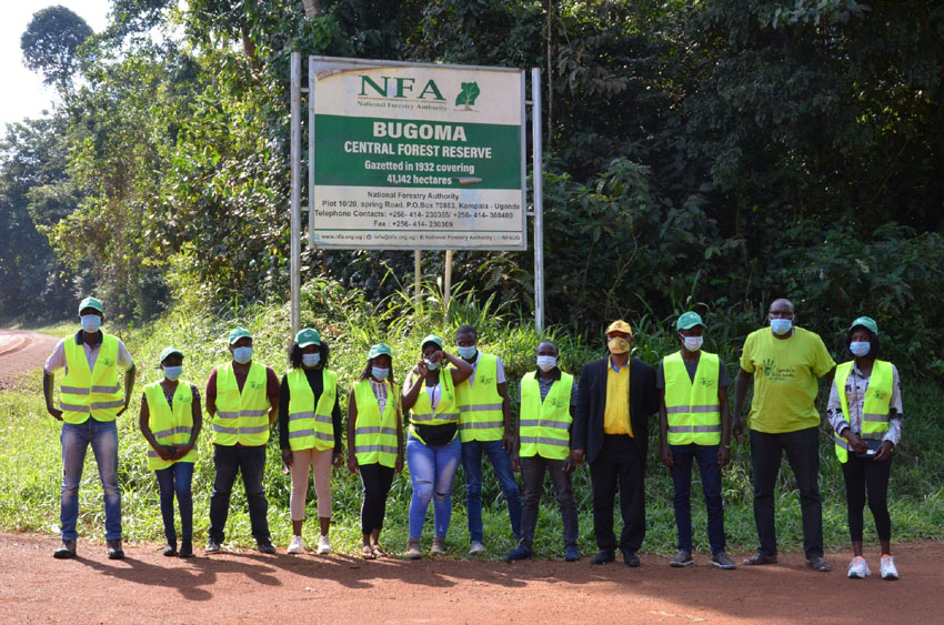 Environmentalists at Bugoma Forest on a fact finding mission