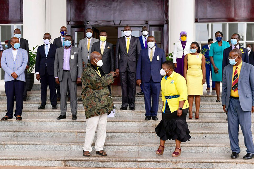 President Yoweri Museveni with the NRM Manifesto 2021 general elections committee