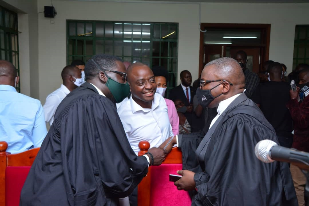 Ham with his lawyers at Court on Monday