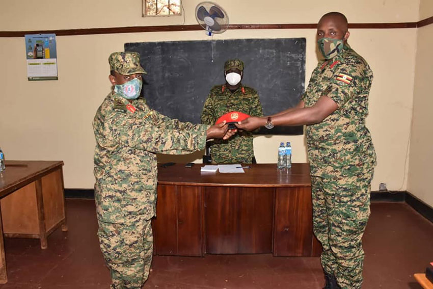 Col Kieth Katungi officially takes over as Commandant Military Police from Brigadier William Bainomugisha at Makindye Military Police headquarters.