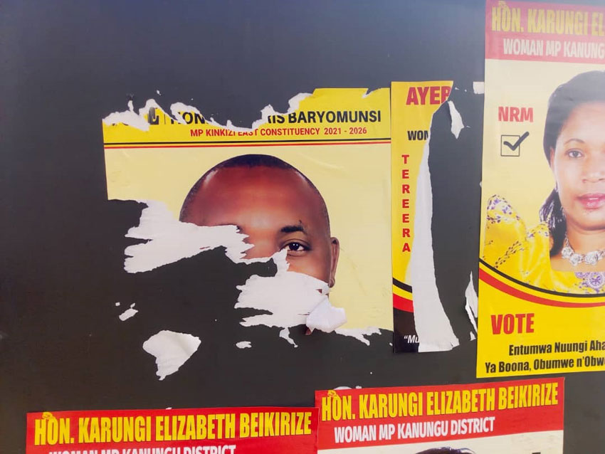 Minister Chirs Baryomunsi's defaced campaign poster