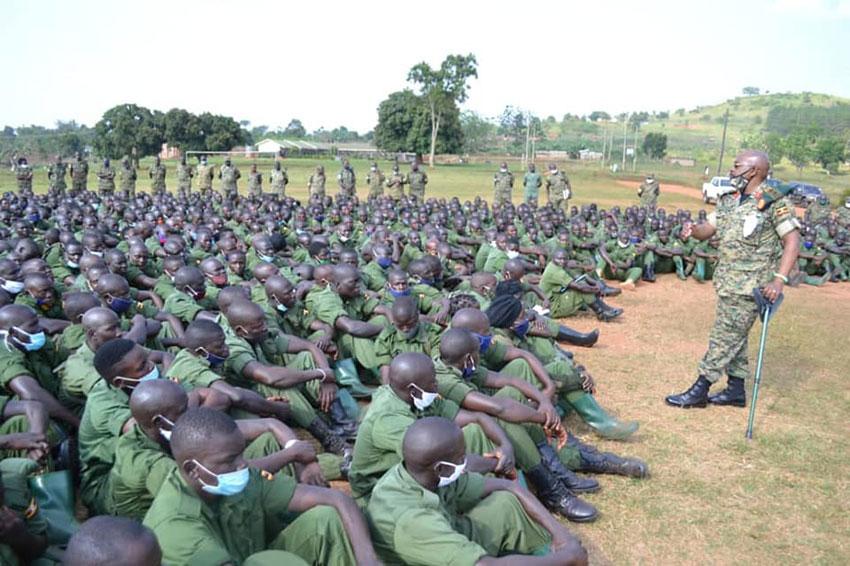 Maj Gen Leopold Kyanda meeting LDUs at Kakiri barracks