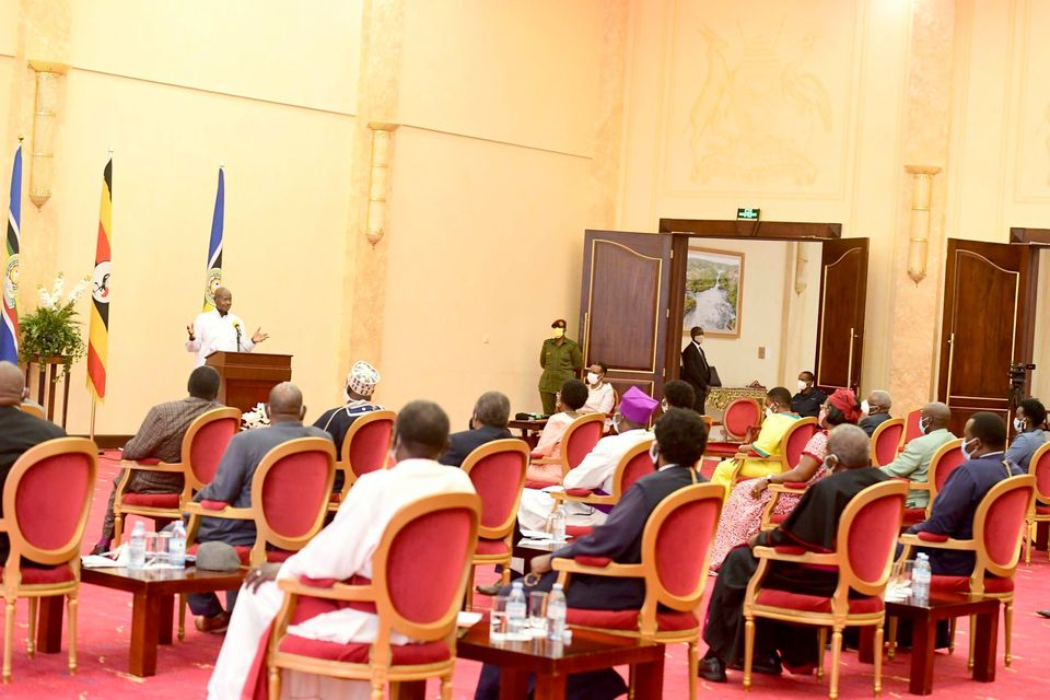 President Museveni during the National prayers for covid-19 on Saturday