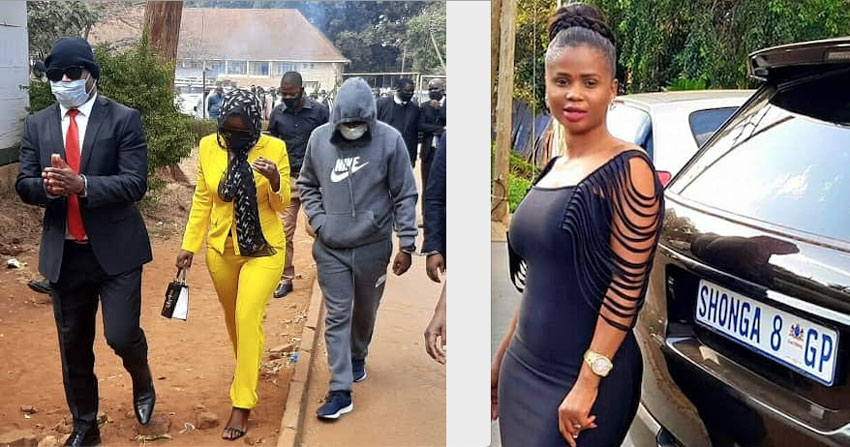 Dorothy Shonga (yellow) appearing in court on Monday