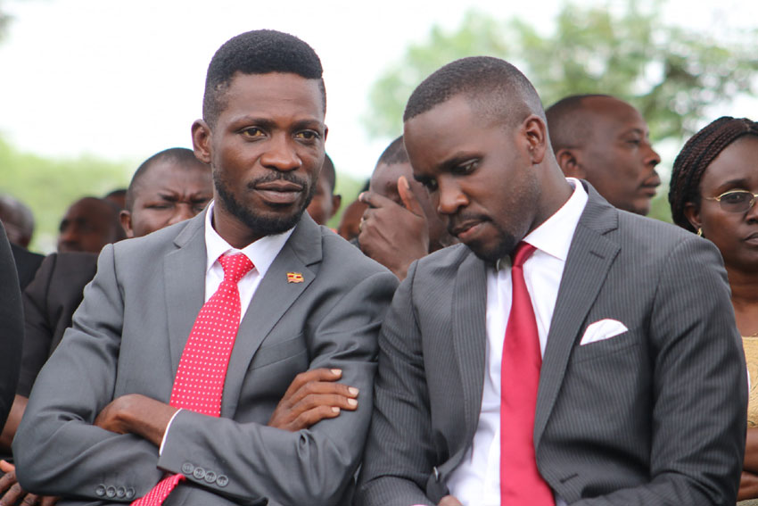 NUP leader Bobi Wine and party spokesperson Joel Ssenyonyi
