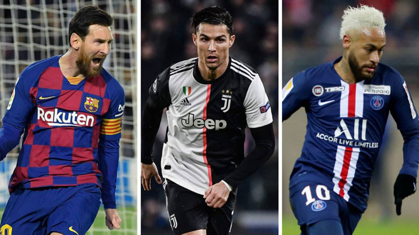 L-R: Messi, Ronaldo and Neymar