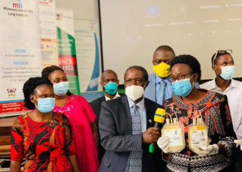 Dr Ruth Aceng during the launch of clinical trials for covid-19 treatment