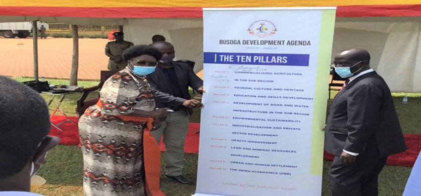 The Vice President, H.E. Edward Ssekandi (R) and Speaker Rebecca Kadaga at the launch of the development agenda in Jinja Town