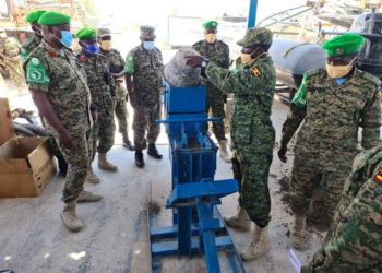 UPDF officer in Somalia fabricates brick making machine
