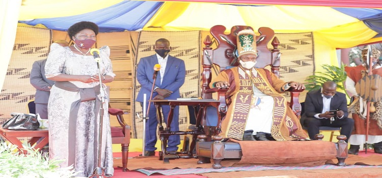 Speaker Kadaga(L) speaking during the coronation celebrations in Jinja