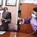 Kadaga (R) with the Finance Minister, Matia Kasaija after the meeting