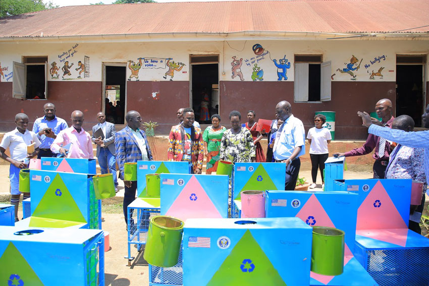 After the launch of Clean Air Campaign, each school was given 16 and the head teachers and environment teachers agreed to become ambassadors for change by starting to sort waste