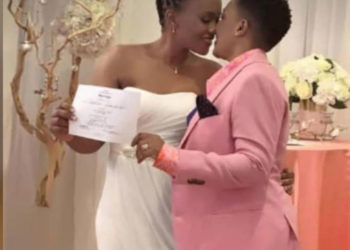 Julie Mutesasira with her female lover on their wedding day