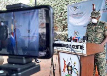 Lt Col Deo Akiiki addressing media at Uganda Media Centre on Friday