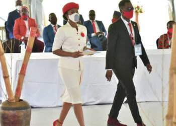 Barbie and Nubian during the nomination function of Bobi Wine on Tuesday