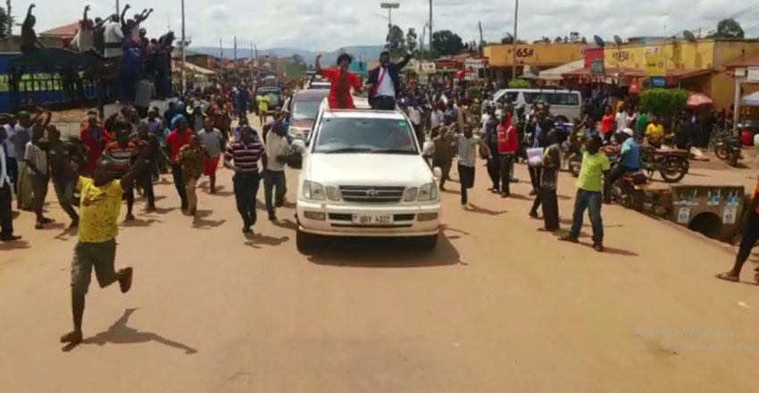Bobi Wine arrives in Mbarara