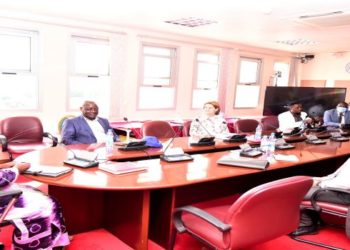 The Speaker of Parliament, Rebecca Kadaga (L), Minister Ssempijja (second, left) and officials from ISG, South Africa