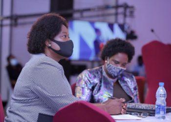 KCCA ED Dorothy Kisaka with Kampala Minister Betty Amongi at the Economic Mkutano 2020 summit