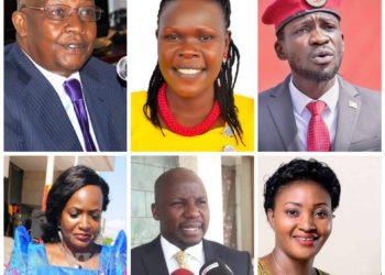 From upper left to lower right: MPs Sam Kutesa, Evelyn Anite, Bobi Wine, Nabila Naggayi, Godfrey Kiwanda and Winnie Kiiza