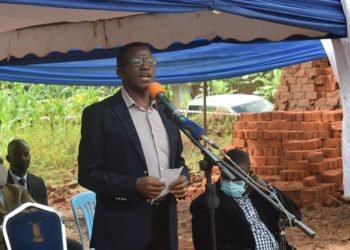 Katikiro Charles Peter Mayiga officiating at the launch of Decent Living Campaign in Mpigi district