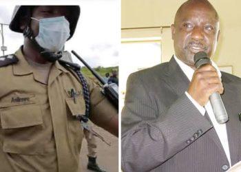 ASP Asiimwe akulira poliisi ye Mbalala e Mukono ku kkono ne Fred Bamwine omubaka wa Gavumenti E Mukono