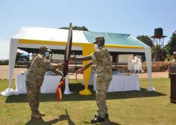 Maj Gen James Birungi handing over the SFC mantle to Lt Gen Muhoozi Kainerugaba