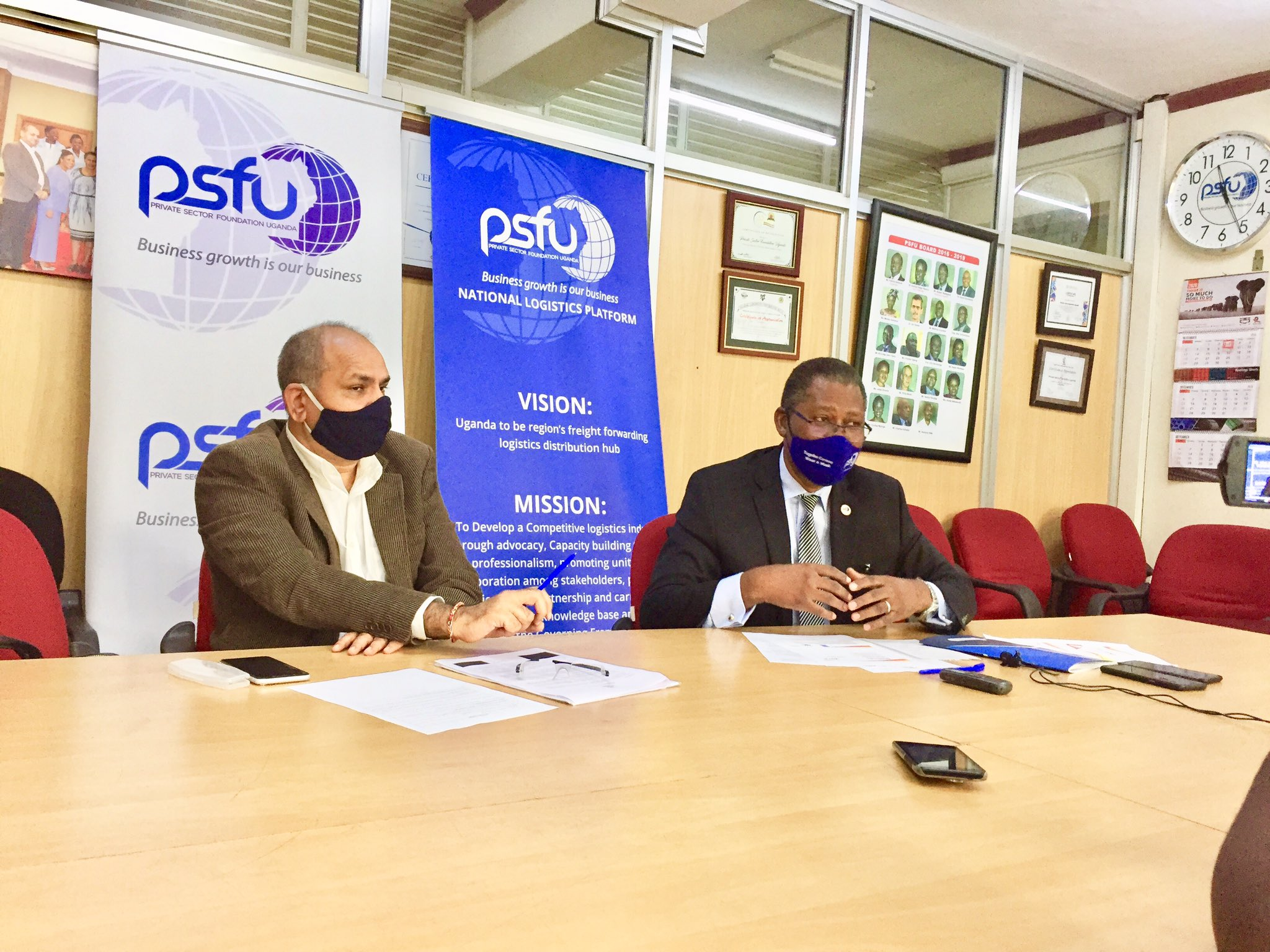 L-R: Mr Rajesh Chaplot, PSFU board member and Mr Gideon Badagawa, PSFU Executive Director addressing the media on Thursday