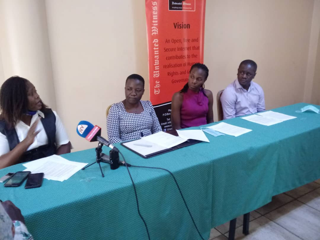 Unwanted Witness officials addressing the media on Friday