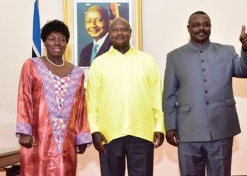 Rebecca Kadaga, President Museveni and Jacob Oulanyah