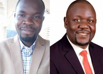 Sentebe Mubarack Sekikubo aliko kati owa NRM ku kkono ne Bogere Nsensebuse owa NUP avuganya