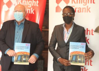 Marc du Toit (left) and Judy Rugasira Kyanda, the Knight Frank Uganda, Head of Retail and Managing Director respectively, at the release of the  H2 2020 Kampala Market Update Report.