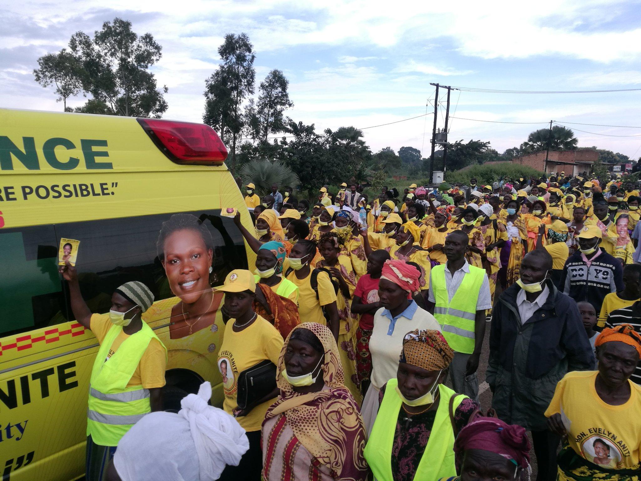 Residents of Koboko receiving Anite's ambulance last year