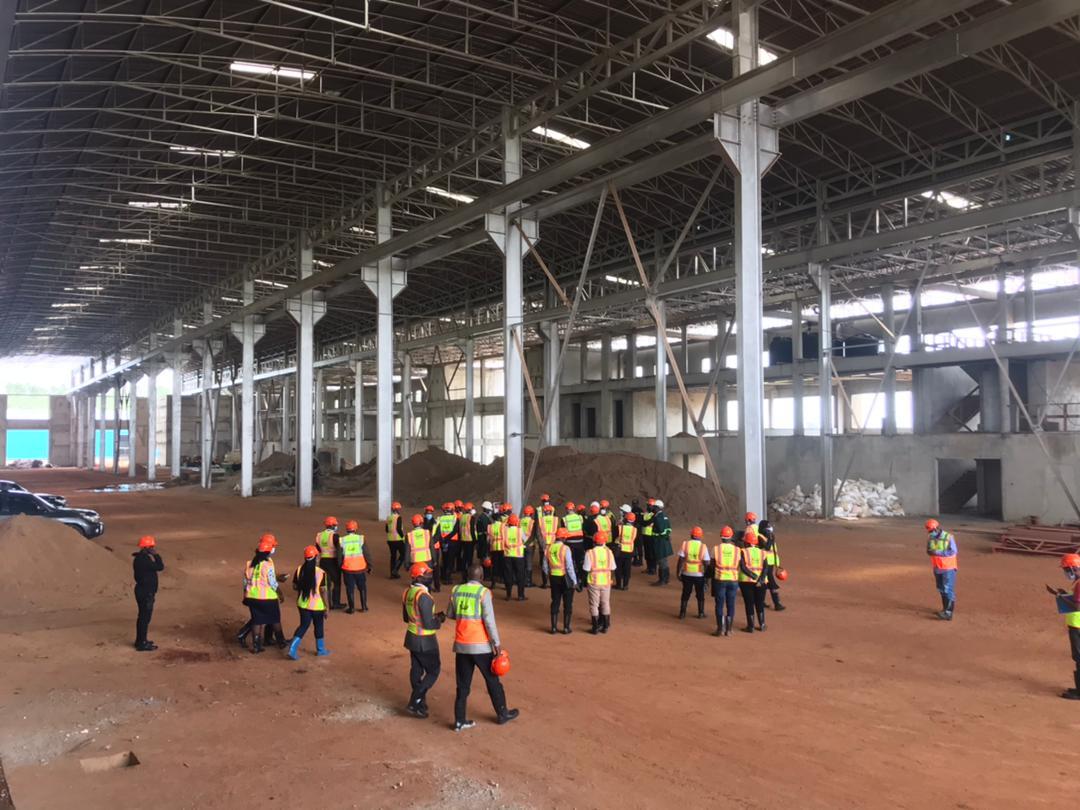 Delegates touring the Kiira Motors Vehicle Plant under construction