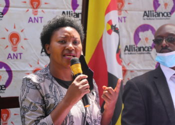 ANT's Winnie Kiiza addressing the media on Monday