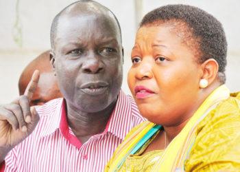 Akulira akakiiko ke by'okulonda mu NRM Dr. Tanga Odoi ne Ssabawandiisi wa NRM Justine Kasule Lumumba