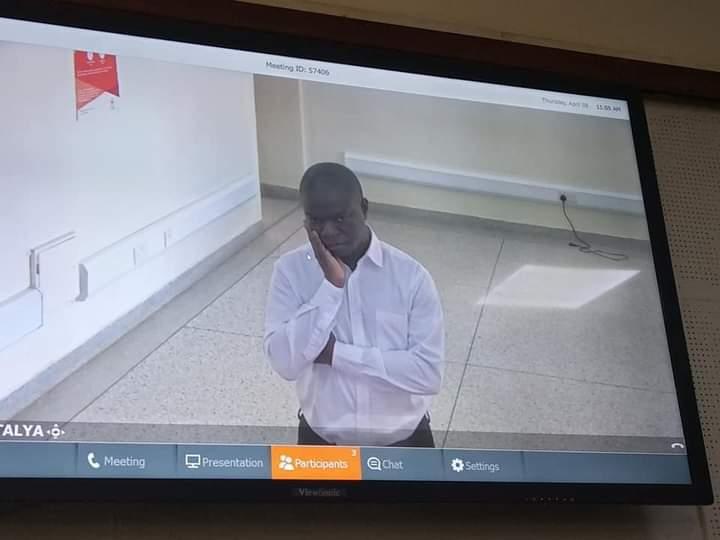 Muhammad Ssegirinya appearing in Court via video conferencing