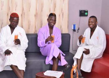 Real dance crew team aka 'Muwunya' boys having a light moment at a massage parlor