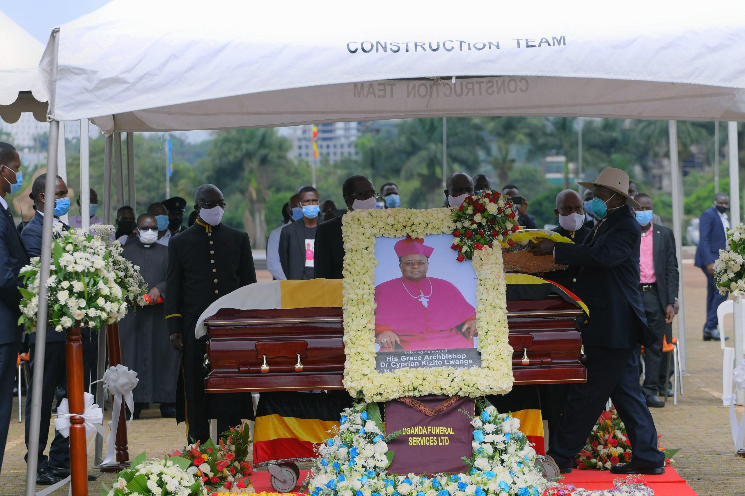 President Museveni at Kololo during the State funeral ceremony of Archbishop Kizito Lwanga