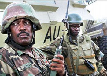 Brig Gen Kayanja Muhanga (left) has been promoted to Maj Gen