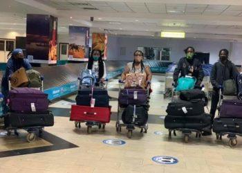 Stella Nyanzi with her children back in Uganda