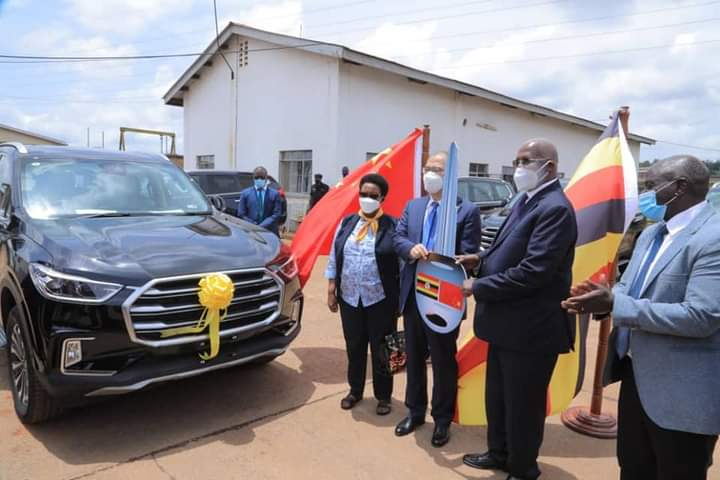 Minister Kutesa receiving the 70 SUV cars from China on Wednesday