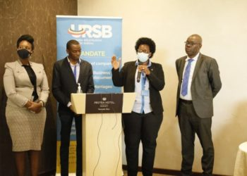 L-R Uganda Law Society President, Pheona Wall, Gilbert Agaba Director Intellectual Property, Mercy Kainobwisho, Registrar General & Paul Asiimwe of Sipi Law Firm during the launch of URSB's Journal.