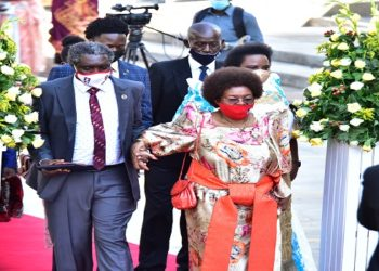 MP James Akena accompanied by his mother Miria Obote