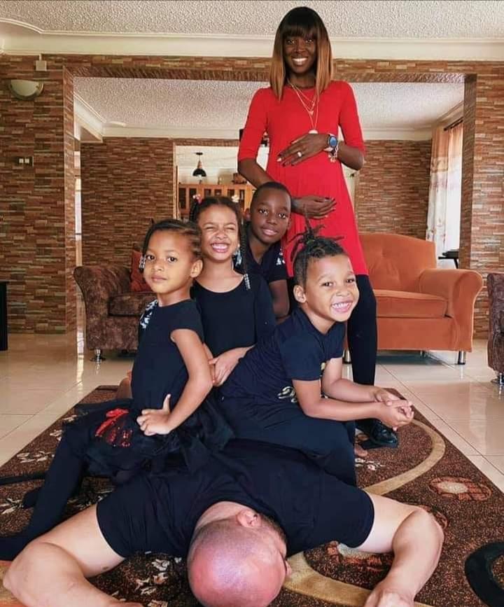 Dorah Mwima, her hubby and children