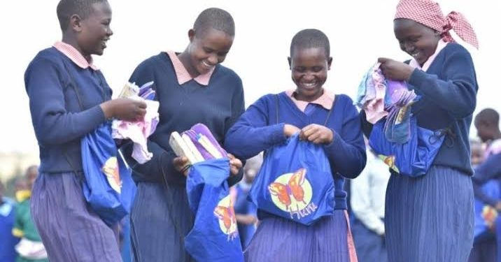 School girls with hand made menstrual products