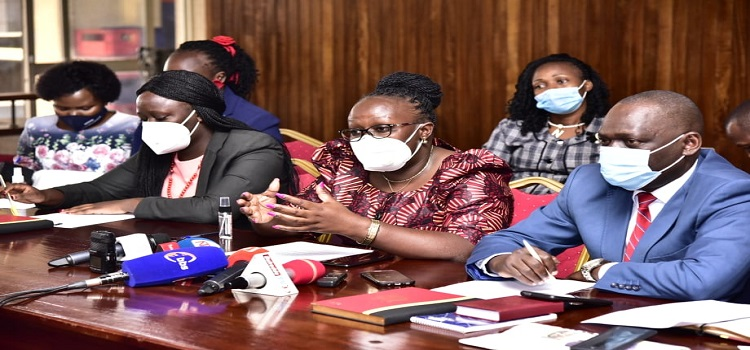 Opposition MPs led by Joyce Bagala addressing the media on Thursday