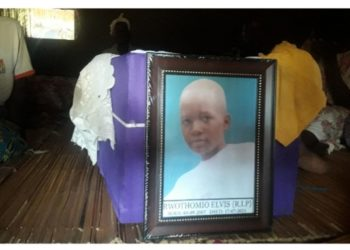 A casket containing the remains of Elvis Rwothomio... Courtesy photo