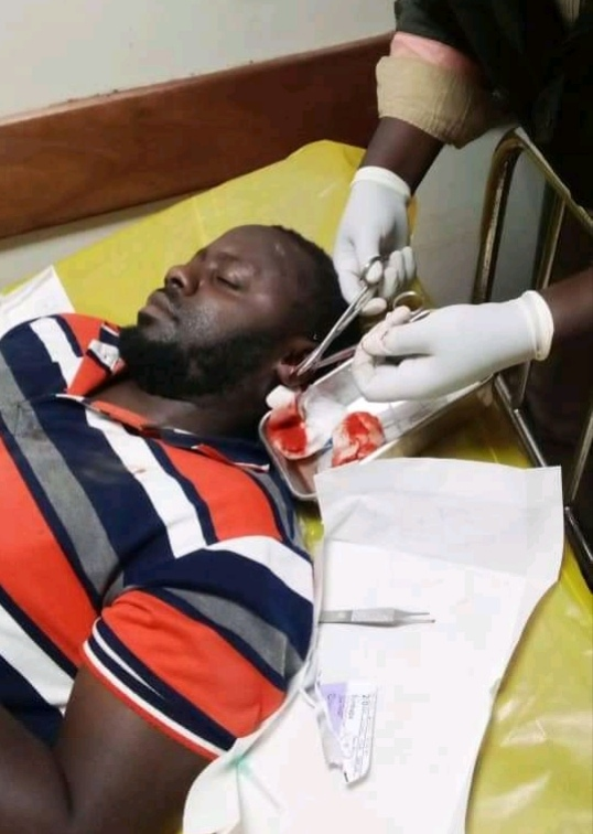 Mohammed Byaruhanga receiving treatment