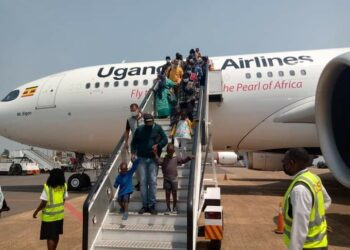 Airbus A330-800 neo after landing at Entebbe International Airport