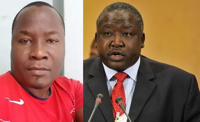 Blogger Fred Lumbuye and Minister Okello Oryem